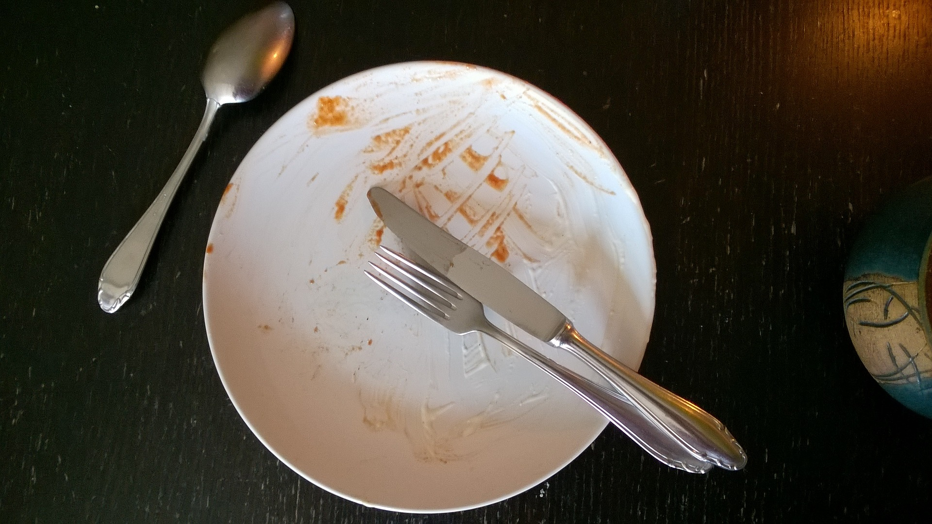 Dirty plate with cutlery.